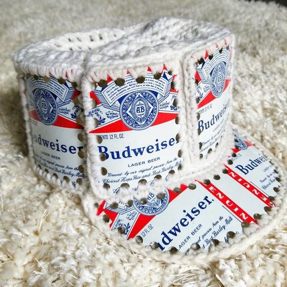 bc752b85ba4 Vintage Budweiser Beer Can Crocheted Knit Hat. M 5b390d8d819e9015657f9d3d